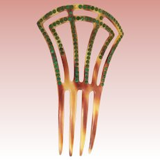 Magnificent Antique Jeweled Hair Comb ~ Pretty  Celluloid Comb with Green Gems.