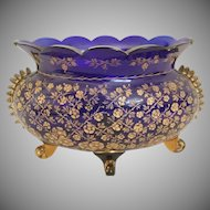 Big Cobalt Centerpiece Bowl ~ Exquisite Etched Flora Gilding ~ Applied Feet and Scalloped Top ~ A BEAUTY!
