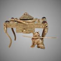 "Antique Jeweled Austrian ""DOG"" Bronze Desk Inkwell. ~ Precious Little Dog Under the Desk"
