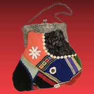Charming HandBag of Silk and Velvet Patchwork ~ Accents of Buttons, Lace and Ornate Silver Frame