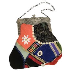 Charming HandBag of Silk and Velvet Patchwork ~ Accents of Buttons, Lace and Ornate Silver Frame ~  Never Been Used