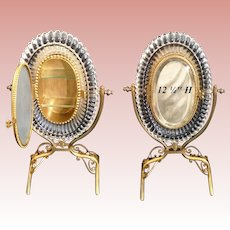 Antique French Miniature Vitrine Curio for Your Tiny Treasures ~ Beautiful Dore Bronze ~  Ornate Oval Glass and Mirror~ Two  Glass Shelves.