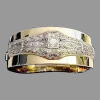 "Diamond Platinum and 14K Bangle Bracelet ""VERY FINE"""