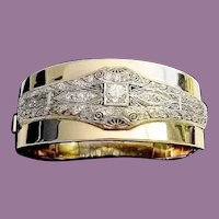 "Diamond Platinum and 14K Bangle Bracelet ""VERY FINE"""