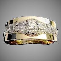 "Grandest Diamond Platinum and 14K Bangle Bracelet ""VERY FINE"""