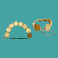 """8"""" Antique American $5 Gold Coin Bracelet  ~  Eight  $5 Liberty Head Gold Coins ~ 72.22grams ~ Rare and Glorious"""