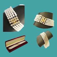 18 Karat Yellow Gold Diamond and Pearl Bracelet ~  55  2 ½ mm Diamonds & 5 mm AA Quality Pearls
