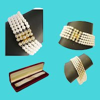 18 Karat Yellow Gold Diamond and Pearl Bracelet ~  55  2 ½ mm Diamonds & 5 mm AA Quality Pearls