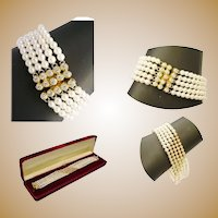 Magnificent Very Fine Estate 18 Karat Yellow Gold Diamond and Pearl Bracelet ~ 55  2 ½ mm Diamonds & 5 mm AA Quality Pearls