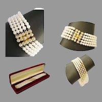 18Karat Yellow Gold Diamond and Pearl Bracelet ~  55  2 ½ mm Diamonds & 5 mm AA Quality Pearls