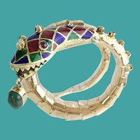 Enamel Snake Bracelet with Emerald, Rubies, and Diamonds ~ ~Ruby Eyes  ~ Big Oval Emerald Dangling from the Mouth