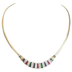 """20"""" 14K Yellow Gold Ruby, Emerald, Sapphire & Diamond Necklace ~  It's Spectacular!"""