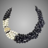 """Elegant and Exquisite 16"""" 14KARAT Yellow Gold, Diamond. Pearl, and Black Onyx Necklace"""