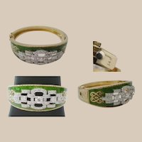 "Antique Green Enamel & Diamond Bracelet  "" GLORIOUS """