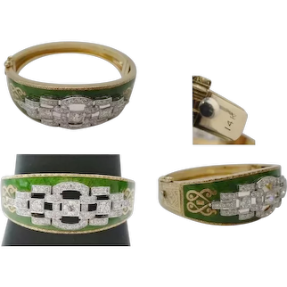 "Antique Green Enamel & Diamond Bracelet  "" GLORIOUS """
