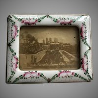 "Antique Hand Painted Porcelain Frames ~   PAIR ~  Lovely Table Top Easel Back Porcelain Frames ~ Ready for Your 2 ¼"" x 1 ½"" Picture"