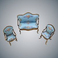 Elegant  Blue Miniature Austrian Vienna Enamel Parlor Set ~  Sofa and Two Arm Chairs ~  Yummy Blue w Pretty Pastel Flowers