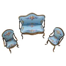 Elegant  Blue Miniature Austrian Vienna Enamel Parlor Set ~  Sofa and Two Arm Chairs ~  Yummy Blue w Pretty Pastel Flowers