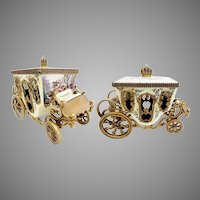 Grandest Antique Vienna Enamel Miniature Coach Pastoral Couple, Lambs and Dog ~ The Top has Winged Cherubs Holding Flowers with Blue Ribbons Circle the Top and Crown Finial ~ Fancy Movable Wheel