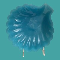Antique French Teal Blue Opaline Scallop Shell Masterpiece  ~  Rare Shape and RARE COLOR!