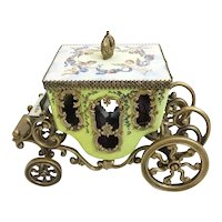 19C Vienna Enamel Miniature Coach Winged Cherubs Holding Flowers with Blue Ribbons Circle the Top ~  Gilt Crown Finial