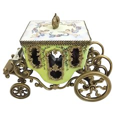Magnificent Antique Vienna Enamel Miniature Coach Winged Cherubs Holding Flowers with Blue Ribbons Circle the Top ~  The Top has a Gilt Crown Finial