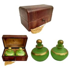 Charming Antique French Scent Casket w Awesome Green Opaline Scents Bottles ~ WOW! BIG SCENT BOTTLES