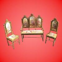 """Antique Viennese Enamel Miniature Salon Set """" Four Pieces"""" ~ Absolutely the BEST! ~ EIGHT Exquisite Plaques"""