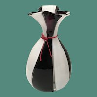 "16 ½"" Lico Zanetti ART GLASS VASE Purple, White, Clear wRed Neck Tie ~  10 ½  Pounds ~ SIGNED"
