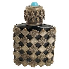 French Tiny Black Glass Silver Jeweled Perfume. ~ French Black Glass Wrapped in Silver Flowers Lattice Overlay ~  Marked Made in France