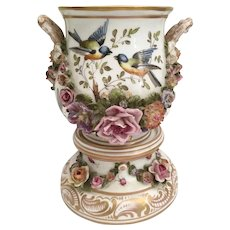 19C Double Handle Hand painted Porcelain Cachepot with Matching Stand ~ Birds, Butterflies, and Bugs ~ Many Applied Flowers~ Delightful and Charming