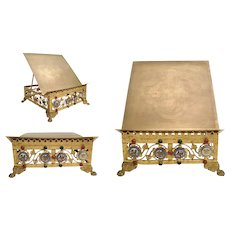 19C Majestic Gilt Brass Jeweled Book Stand  ~ Engraved Book Rest Top ~  T Four Enamel Medallion Plaques wRed and Green Gems