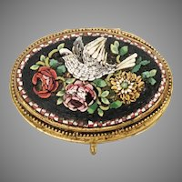 """Antique Italian Grand Tour Micro Mosaic Enamel Hinged Box~  """" Bird and Flowers""""  ~  Lovely Footed Base ~ Exquisite and Very Charming"""