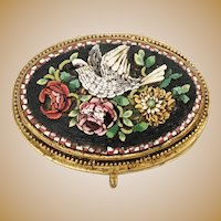 "Antique Italian Grand Tour Micro Mosaic Enamel Hinged Box~  "" Bird and Flowers""  ~  Lovely Footed Base ~ Exquisite and Very Charming"