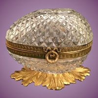 Grandest Antique French Diamond Cut Crystal Casket Hinged Box ~ Divine Wreath Ribbon Gilt Mounts and Stunning Footed Base ~  A  Diamond Cut Crystal BEAUTY.