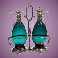 Exquisite Antique Claret Jugs in a Silver Holder Stand ~ Very Charming Tantalus ~ Luscious Color Glass