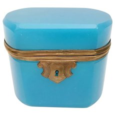 Pretty Antique French Blue Opaline Casket Hinged Box  ~ Smooth Mounts and Beveled Edges  Stunning Shape