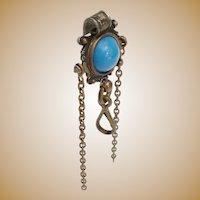 "Antique Brass Jeweled Chatelaine Clip ~ A  5/8"" Blue Gem"