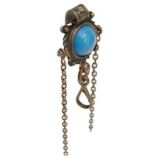 "Antique Brass Jeweled Chatelaine Clip ~ A  5/8"" Blue Gem"