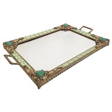 Magnificent  Antique Austrian Jeweled Vanity Tray with Beautiful Double Handles…Rare Color and Design…A BEAUTY!