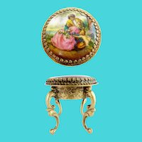 Antique Austria Enamel Miniature Round Table / Stool ~ Beautiful Pastoral and Putti