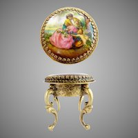 Antique Austria Enamel Miniature Round Table / Stool ~ Beautiful Pastoral and Putti