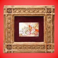 Amazing  19C Miniature Antique French Limoges Enamel on Cooper Plaque ~Charming Scene with Lambs, Putti, and Flowers. The Enamel on Cooper is Framed in a Stunning Frame