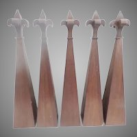 "Five STUNNING  19C  Gothic Style 23"" Architectural Spires  ~ Executed in Mahogany ~ GRANDEST SIZE"