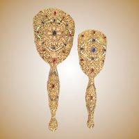 Gorgeous  Austrian Jeweled Enamel Filigree Mirror and Brush ~ Extra Large Size Mirror and Brush ~ Loaded w Nice Gems