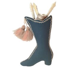 Charming 19 C Silk Boot Mother of Pearl Etui ~  Handmade Needle point Boot w Tassels  and  Four Pieces Etui Set