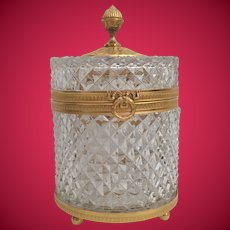 Glorious BIG French Crystal Casket Hinged Box ~ It is a BEAUTY…Magnificent Dore' Bronze Mounts with a Big Wreath with Flowing Ribbons Clasp. ~ Baccarat Quality