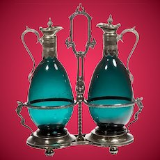 Beautiful Antique Claret Jugs in a Silver Holder Stand ~ Very Charming Tantalus ~ Luscious Color Glass
