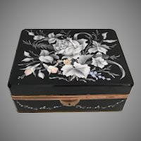 """GIANT""  Antique Bohemian Casket Hinged Box  ~  8"" Black Glass Hinged Box w Lovely Hand Enamel White Flowers and Draped Flower Garland ~ Ornate Gilt Mounts and Gilt Base Mounts ~  Beautiful Shape and Size"