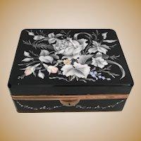 """GIANT""  Antique Bohemian Casket Hinged Box  ~  8"" Black Glass Hinged Box w Lovely Hand Enamel White Flowers and Draped Flower Garland ~ Ornate Gilt Mounts and Gilt Base Mounts ~  Beautiful Shape and Size"